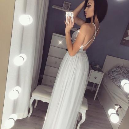 Sexy V-neck Sequin Long Prom Dresse..