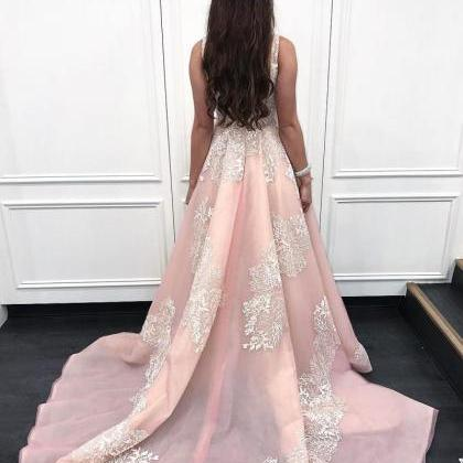 Scoop Pink A-Line,Long Prom Dress w..