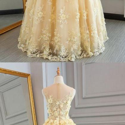 yellow lace customize long A-line s..
