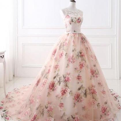 Unique round neck tulle long prom g..