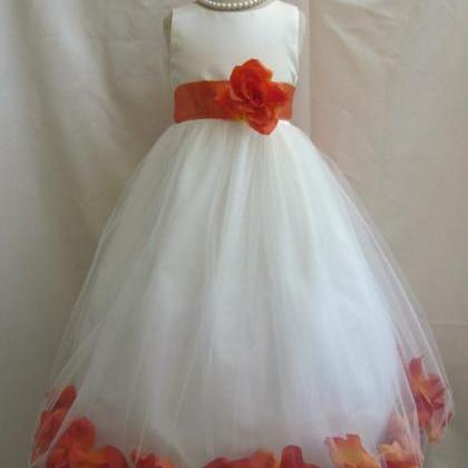 2015 Flower Girl Dresses with Burnt..
