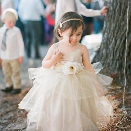 2015 Rustic Ivory Flower Girls dres..