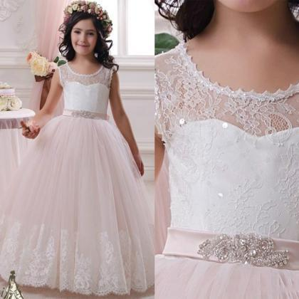2016 White lace ball gown wedding d..