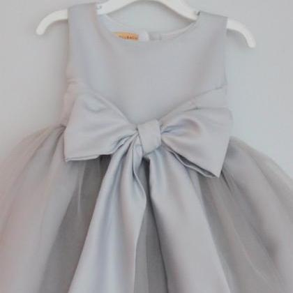 2016 grey flower girl dress with sa..