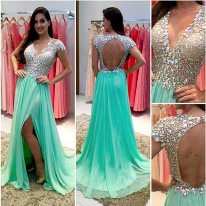 Backless Prom Dress,Rhinestone Prom..