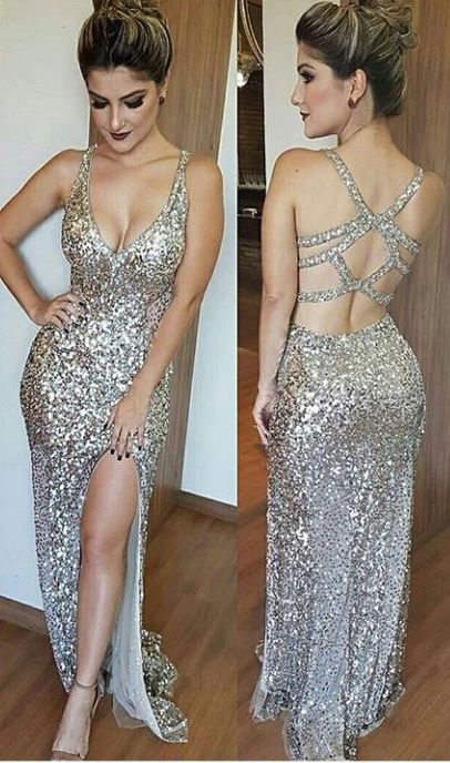 fe21e2a0d5 Luxurious Mermaid Long Prom Dress With Side Slit Evening Dress, Deep V-Neck  Open Back Split Floor Length Beading Prom Dress, Silver Sequins Prom ...