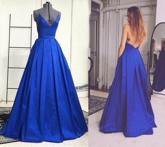 Charming Prom Dress Spaghetti Strap Backless Satin A Line Evening