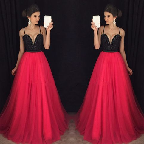 214360eb9710 Hot Pink and Black Prom Dress Long, Prom Dresses,Graduation Party Dresses,  Prom