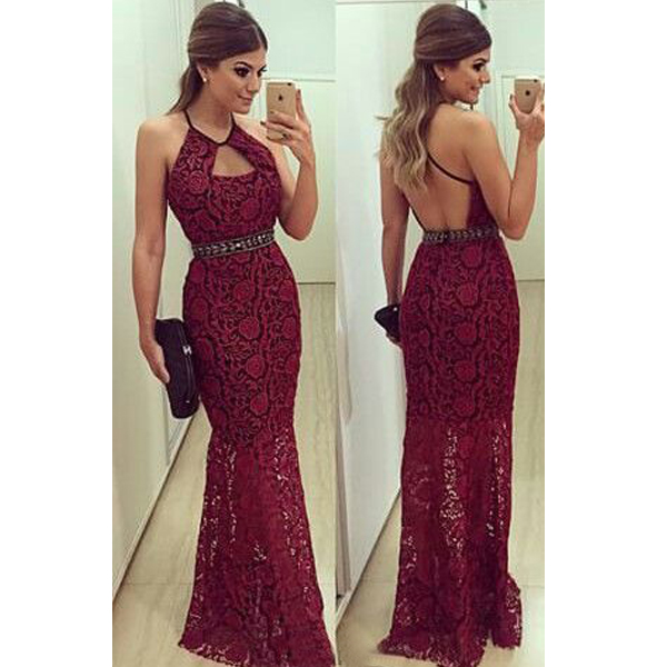 Burgundy Prom Dressesbackless Prom Dresslace Prom Dresswine Red