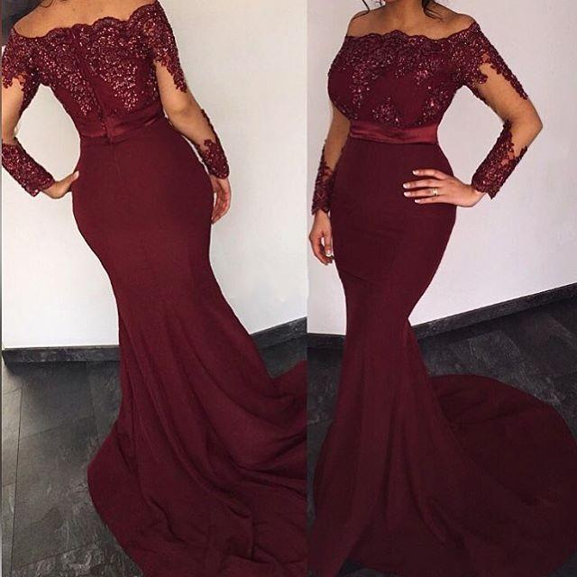 6a4aa06a4f9 Burgundy Satin Long Sleeves Elie Saab Prom Dresses 2017