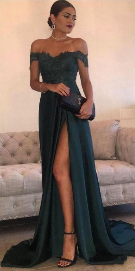 3fb37f61a126 Evening Dress Store-Dark Green A Line Off-the-Shoulder Floor-Length Prom  Dresses, Sexy Prom Dresses, High Side Split Evening Dress, Lace Elegant Long  ...