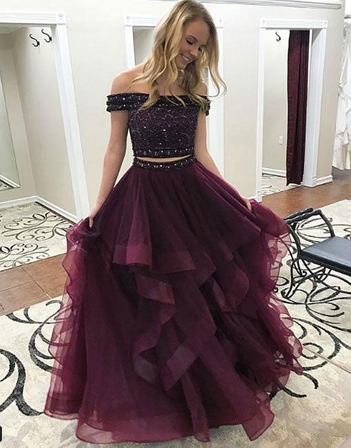 2834eca7649f2 2018 Tulle Long Prom Dress, Two Pieces Evening Dress, Senior Prom Dresses,  Ball Gowns, Two Pieces Prom Dresses