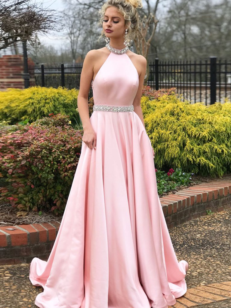b7aba637de4 SIMPLE A-LINE PROM DRESSES PINK HIGH NECK CHEAP BEADING PROM DRESS EVENING  DRESS