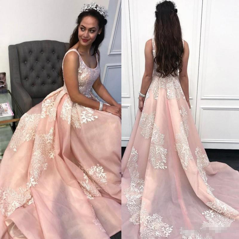 Scoop Pink A-Line,Long Prom Dress with Appliques,Sexy Backless Formal Gown,Special Occasion Gown