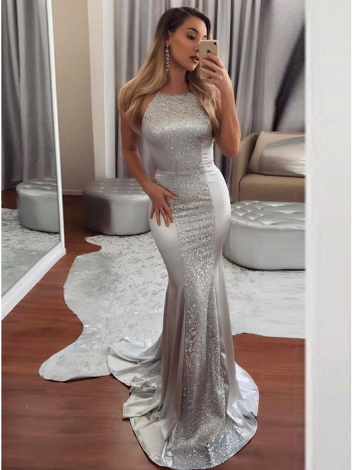 8856277e77d Mermaid Halter Backless Sweep Train Silver Prom Dress With Sequins ...
