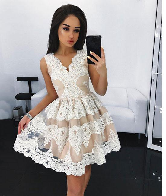 Charming Short Prom Dress,White Cute Lace Homecoming Dress, Short ...