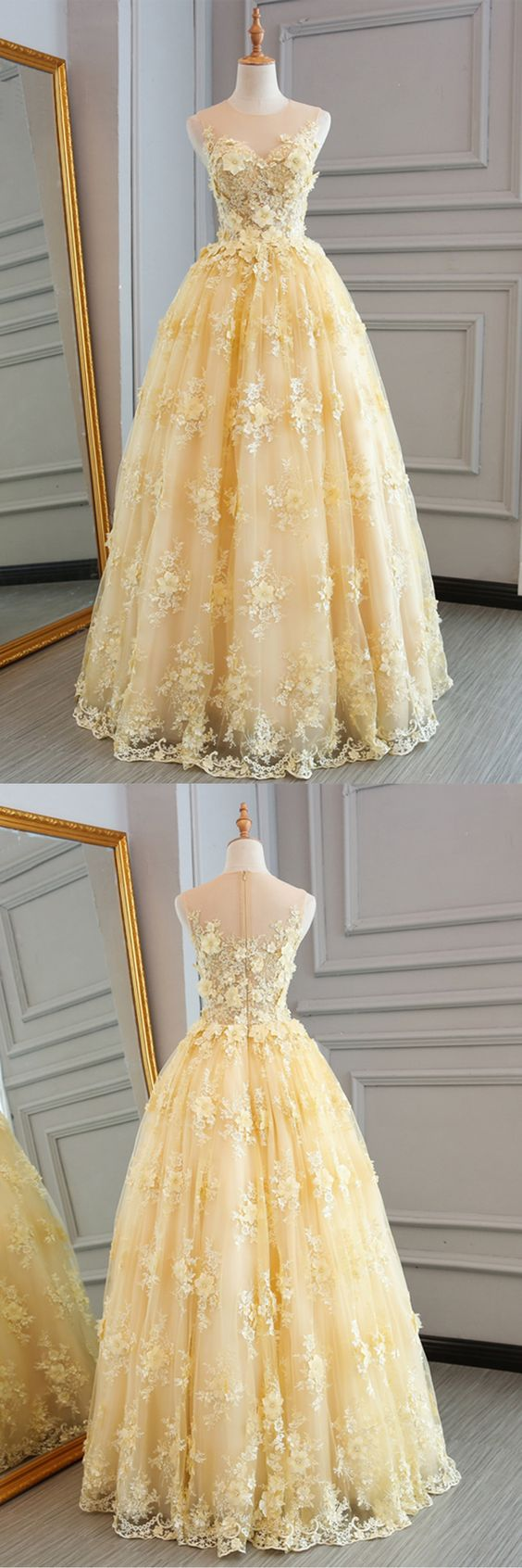 yellow lace customize long A-line senior prom dress, long lace halter evening dress