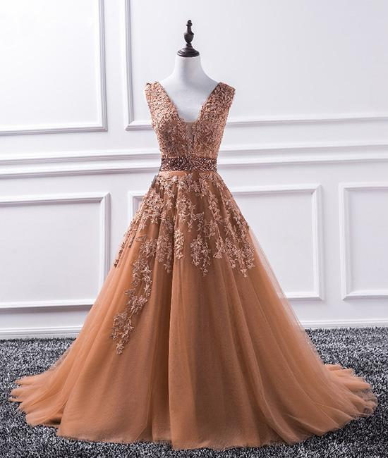 Lace Appliques Plunge V Sleeveless Floor Length Tulle Formal Dress, Prom Dress