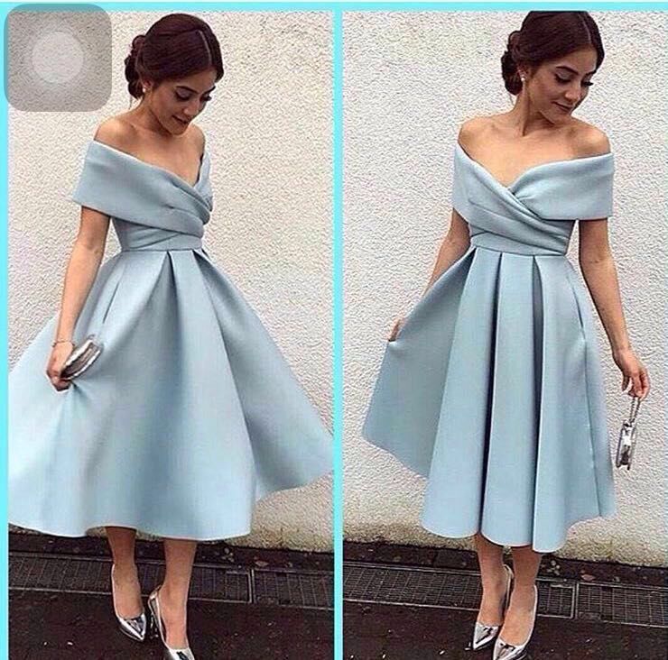 5f322aaee7f Silver Off The Shoulder Tea Length Satin Homecoming Dress