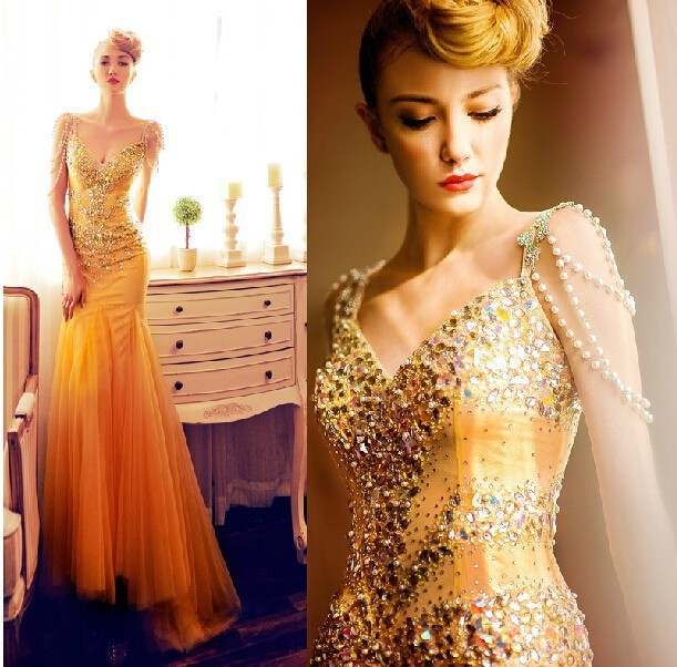 Orange Yellow Mermaid Tulle Prom Dresses Long Beaded Party Dresses