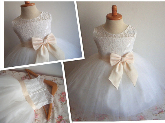 Flower Girl Dress Little Baby Girl Baptism Dress Tulle TuTu Infant Toddler  Pageant Birthday Party Christening Junior Wedding 66128aaf40db