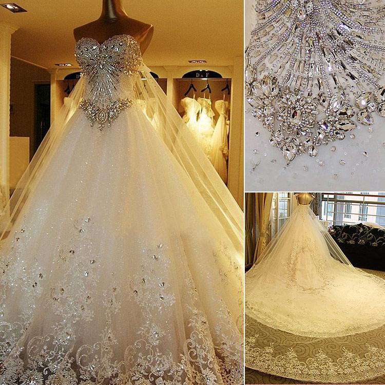 da5d4836718 2015 Retro Luxury Wedding Gowns Bride Dresses Crystals Cathedral Wedding  Dresses Veil Garden Wedding Bridal Gowns