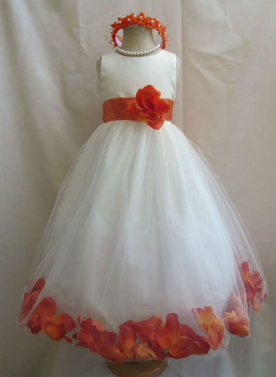 2015 Flower Girl Dresses with Burnt Rose Petal Dress Wedding Easter Bridesmaid For Baby Children Toddler Teen Girls