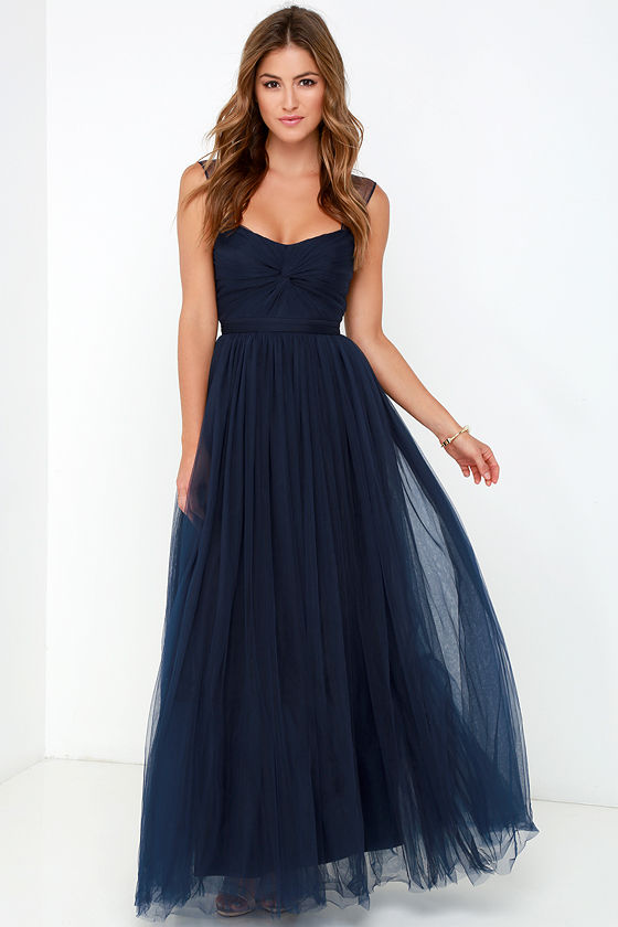 39419cf7472397 2016 Hot U Neck Dark blue Prom Dresses Cheap Tulle Long Prom Dress Shoulder  Belt Prom