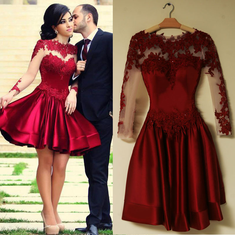 2016 Burgundy Long Sleeve Prom Dresses 2016 Scoop Neckline A Line