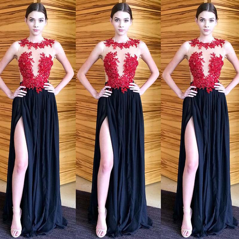 Navy Blue Chiffon Prom Dresses 2016 O Neck Red Appliques Floor Length High Slit Party Dresses