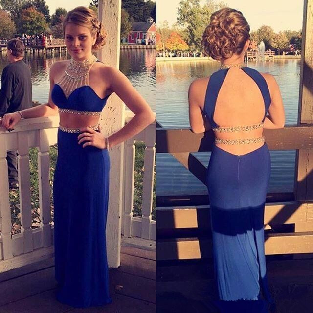 89526c7a176 Beautiful Two Pieces Prom Dress 2016 Beaded A Line O Neck Royal Blue or  Black Chiffon Long Formal Evening Gowns