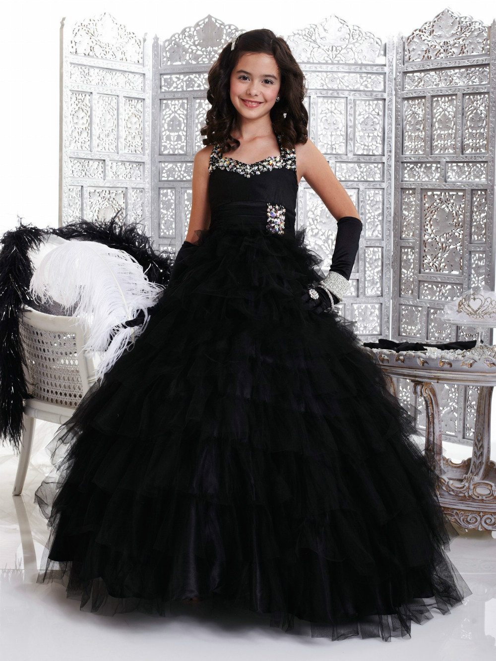 bafde1312326 New Arrival Halter A-line Floor Length Beaded Princess Black Tulle ...