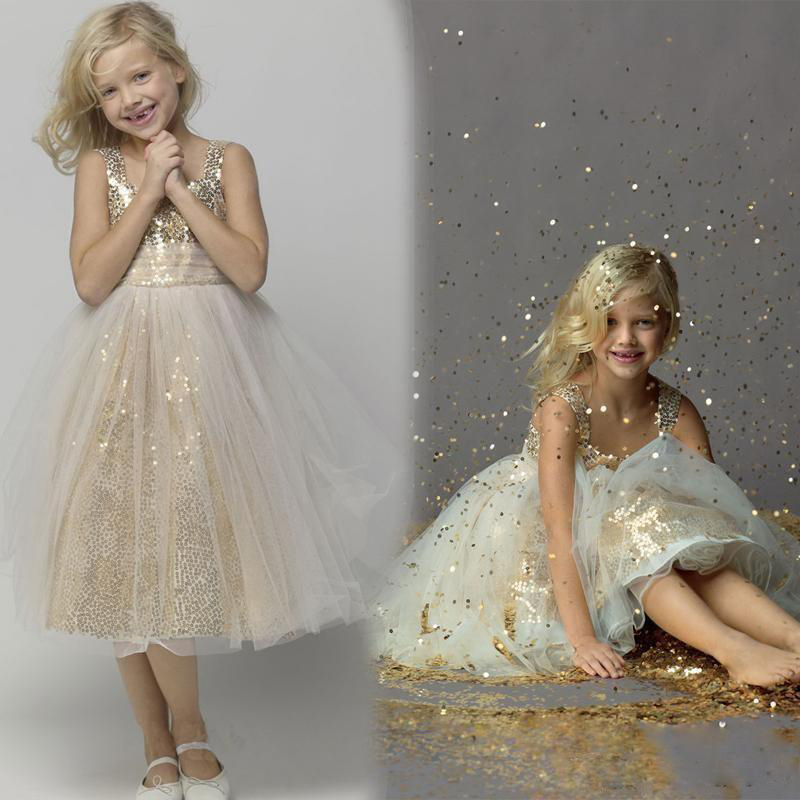 Gold Sequins Sparkle Cute Flower Dresses A Line Tea Length Custom Made Little S Pageant Dress Kids Children Gowns