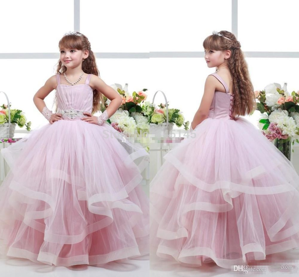 79d7c517ef 2016 Pink Ball Gown Flower Girl Dresses Spaghetti Beaded Sash Ruffles Girls  Pageant Dresses Baby Party Gowns