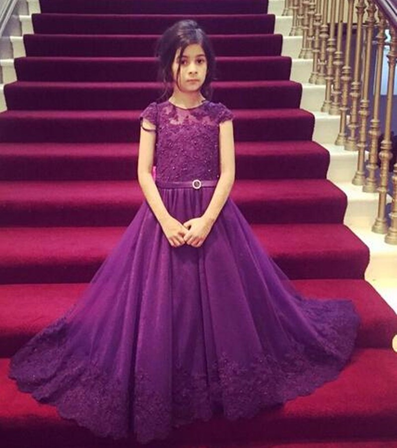 Lace Flower Girl Dresses 2016 Cap Sleeve Purple Flower Girl Dresses ...