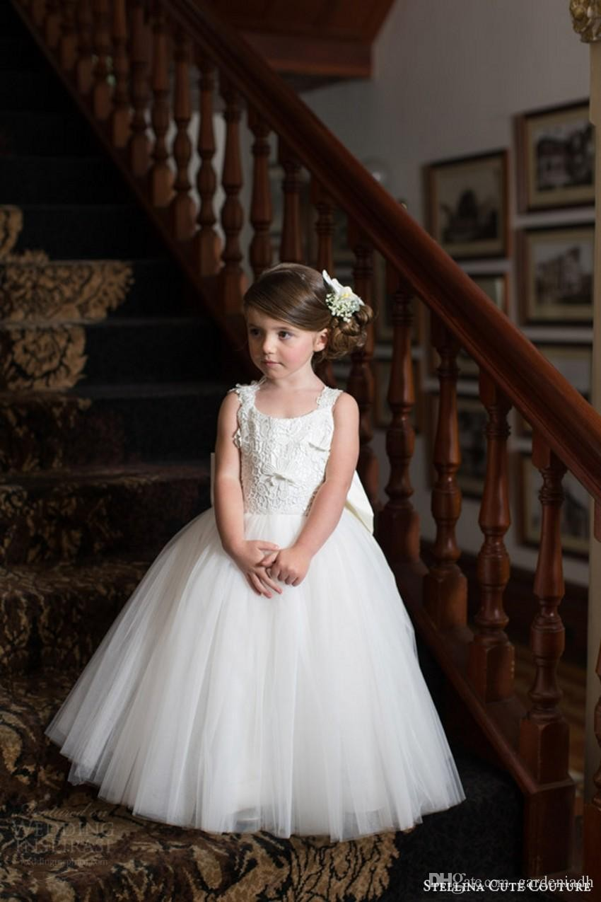 15138e7e7e Ivory Lace Flower Girl Dresses 2016 Cute Couture Baby Toddler Princess Ball  Gown Children Attendant Bridal Party Bow Sash Back