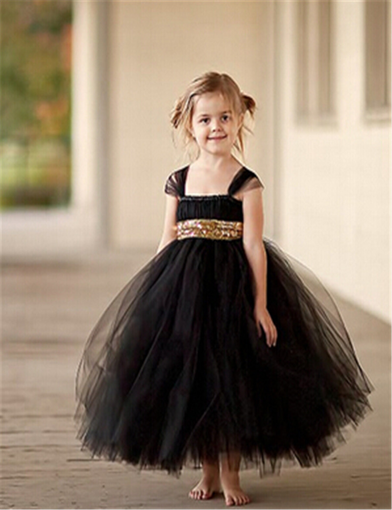 b95cc3accf2 2016 Gold Sequin black dress fashion flower girl dress baby tutu bow Ball  Gown Dress dresses