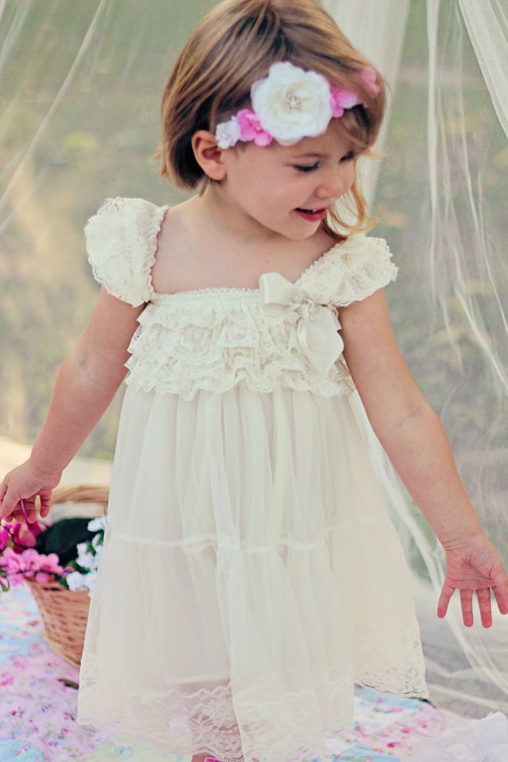 d10f9fb60 Lace Shabby Chic Vintage ivory flower girl dress lace Jr. Bridesmaid  Wedding Party lace dress