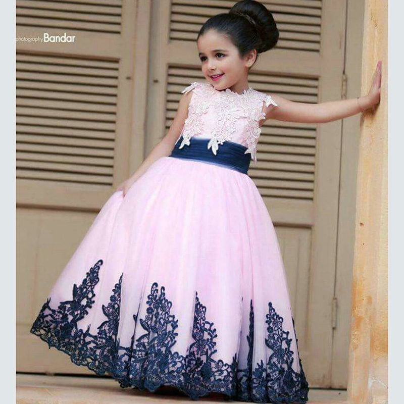 Pink Tulle Lace Navy Blue Flower Girl Dresses Ball Gowns Appliqued