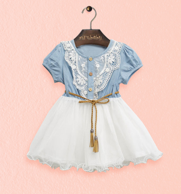 Fashion Denim Dress Girls 2016 New Dress Female Children Of Lace Princess Dress Children Girls F-0007
