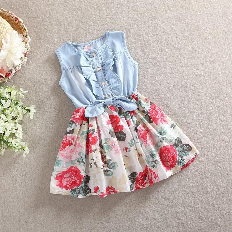 2016 Girls Summer Dress Korean Children's Clothing Wholesale Children's Jeans Big Flower Princess Dress Children Dress TuTu Dress F-0028