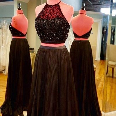 2016 Charming Prom Dress,Two Piece Prom Dress,Long Prom Dresses,Backless Evening Gown,Formal Dress