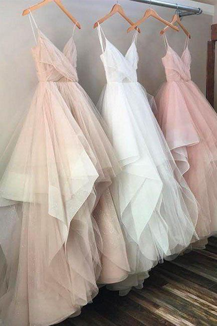 Charming A Line Tulle Evening Prom dresses, Custom Long Party Prom Dresses, Simple prom dresses, 2017 Prom Dresses,