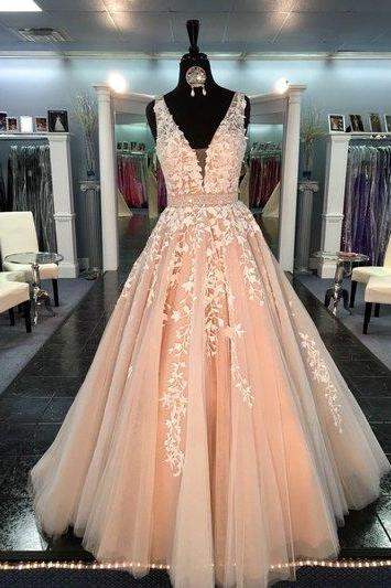 2017 Fashion Wedding Dress, Prom Dresses, Champagne Prom Dress, Tulle and Lace Prom Dress, Formal Party Dress, Evening Gown For Wedding Party