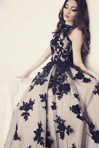 Black Round Neck Tulle Long Prom Dress, Black Evening Dresses A-Line Formal Dress,Party Gown