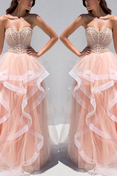 Sweetheart Beaded Top Prom Dresses, Sweet Organza Prom Dresses, Fashion Prom Gowns 2017 Prom Dress