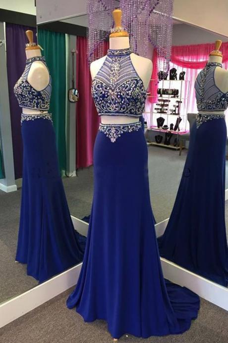 High Neck Heavy Beads Prom Dresses , Two Piece Prom Dresses, Royal Blue Gown For party