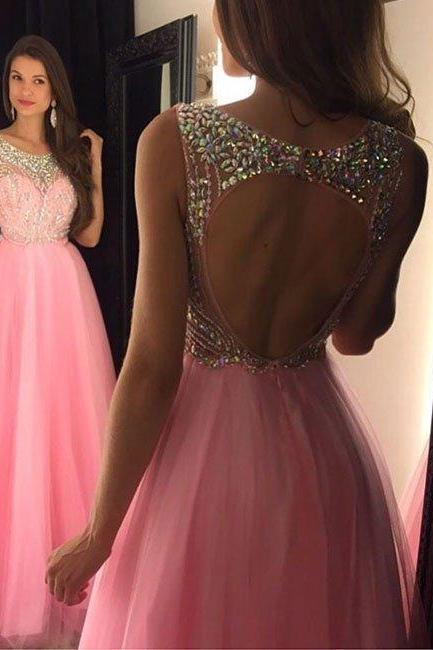 Backless Pink Prom Dress, Prom Dresses,Graduation Party Dresses, Prom Dresses For Teens