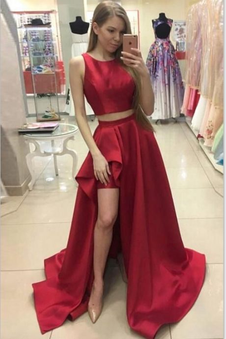 Two Pieces Prom Dress with Slit, Prom Dresses,Graduation Party Dresses, Prom Dresses For Teens