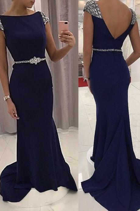 Navy Prom Dress Long, Prom Dresses,Graduation Party Dresses, Prom Dresses For Teens